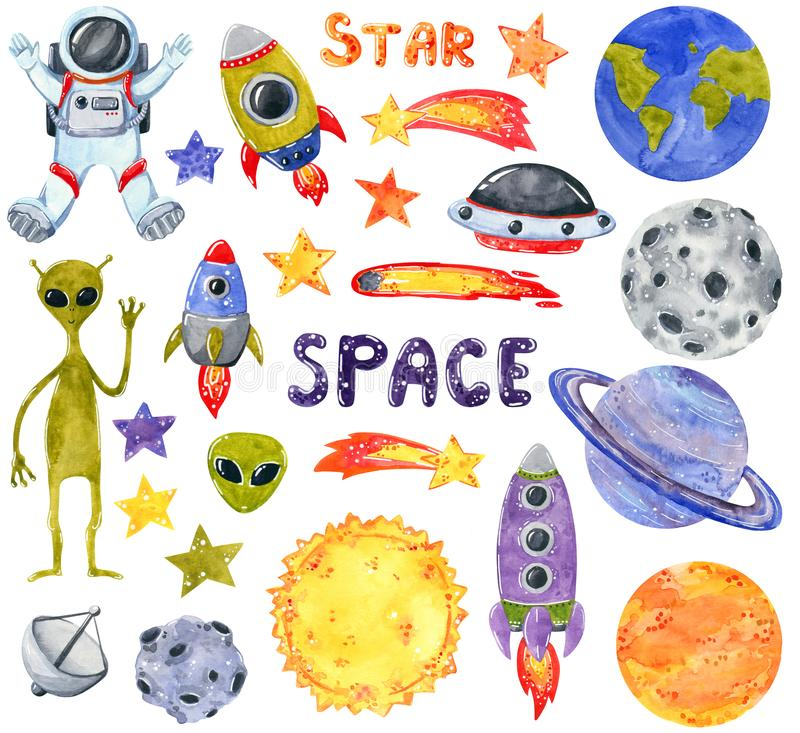 Space clipart set, hand drawn watercolor illustration isolated on white. royalty free illustration