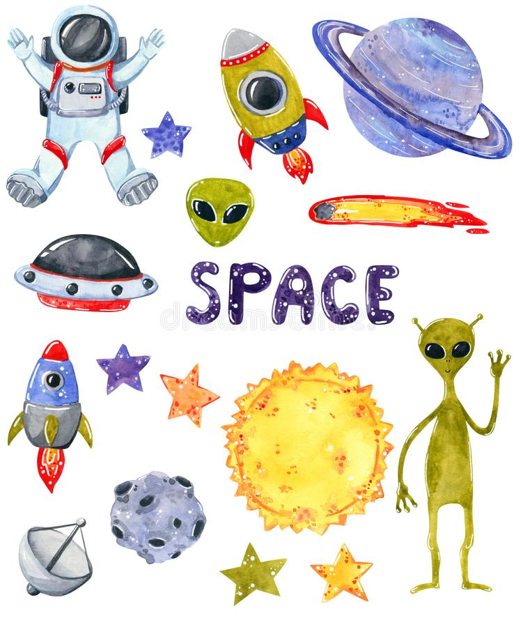 Space clipart set, hand drawn watercolor illustration isolated on white. Space clipart set, alien, spaceman, planets, sun, stars, rockets,hand drawn watercolor stock illustration