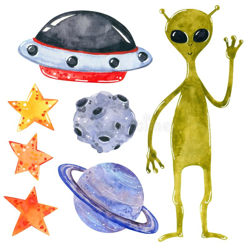 Space clipart set, hand drawn watercolor illustration isolated on white. stock illustration