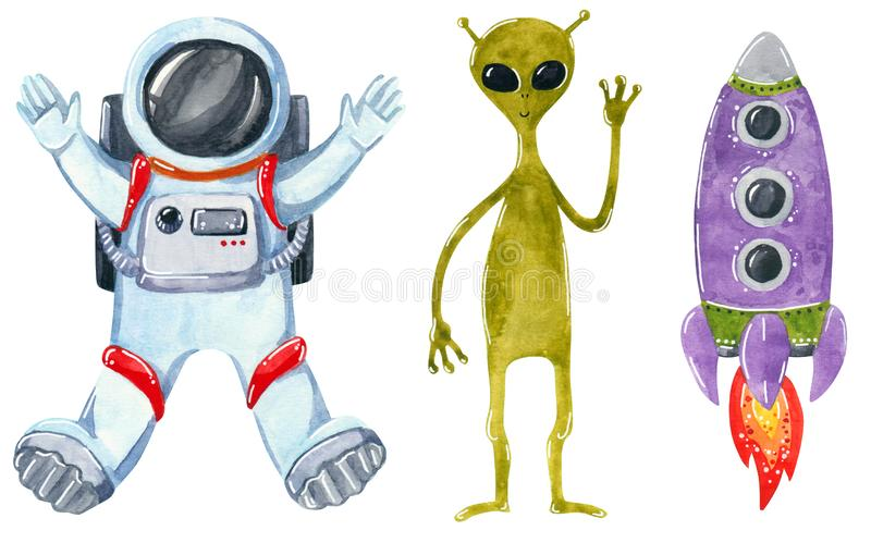 Space clipart set, hand drawn watercolor illustration isolated on white. vector illustration