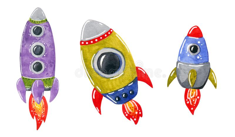 Space clipart set, space rockets, hand drawn watercolor illustration royalty free illustration