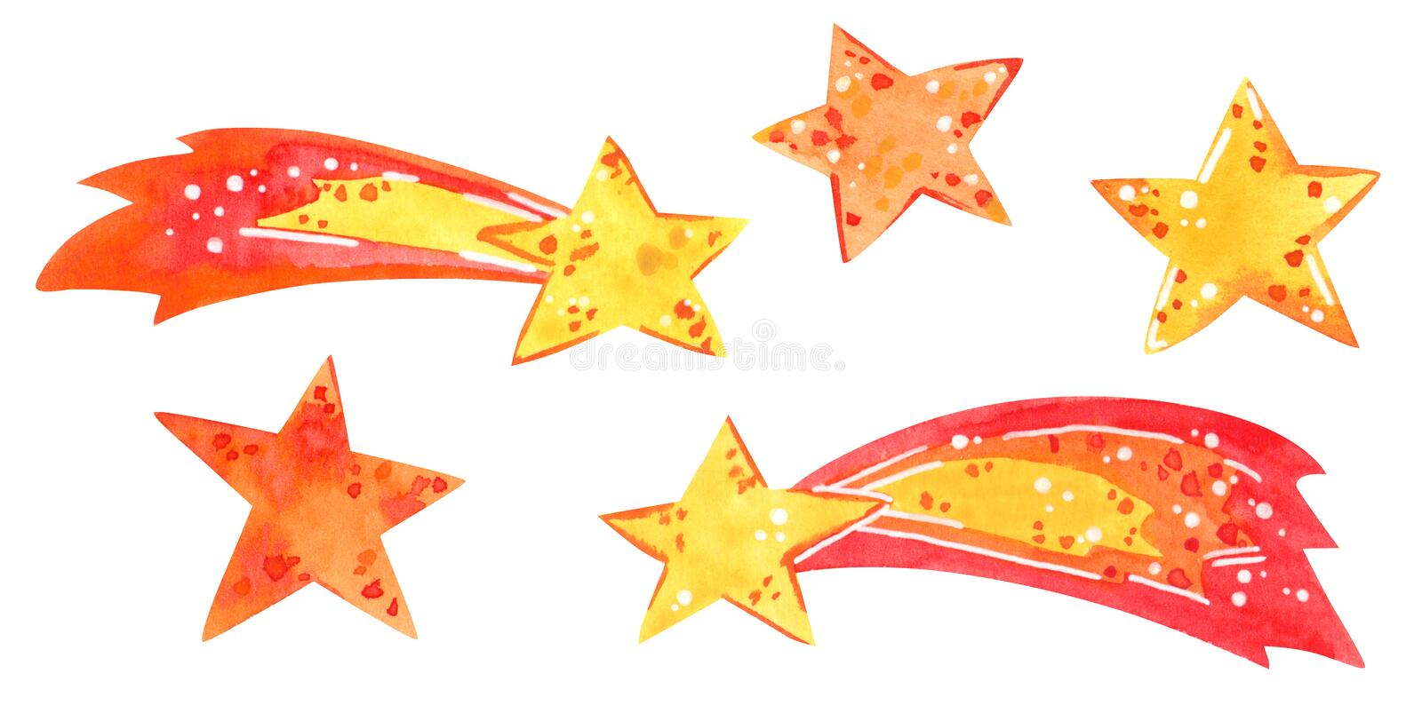 Space clipart set, stars, comets, hand drawn watercolor illustration royalty free illustration