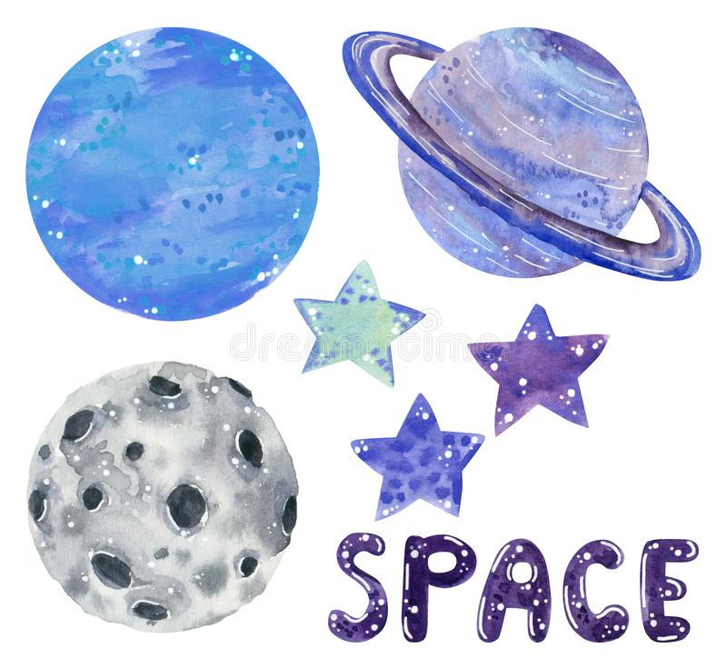 Space clipart set, stars and planets, hand drawn watercolor illustration royalty free illustration