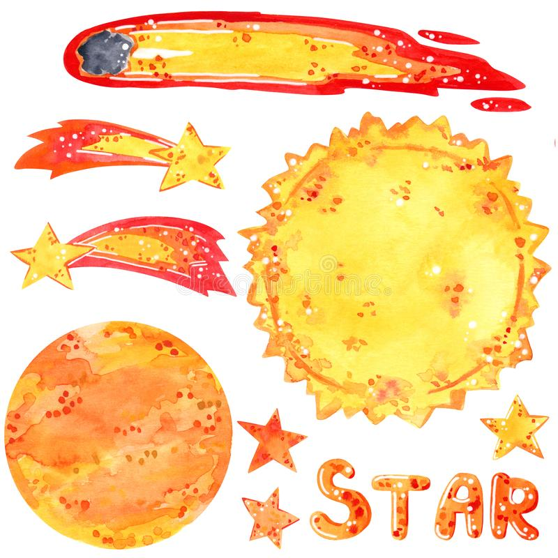 Space clipart set, sun, stars, comets, hand drawn watercolor illustration stock illustration