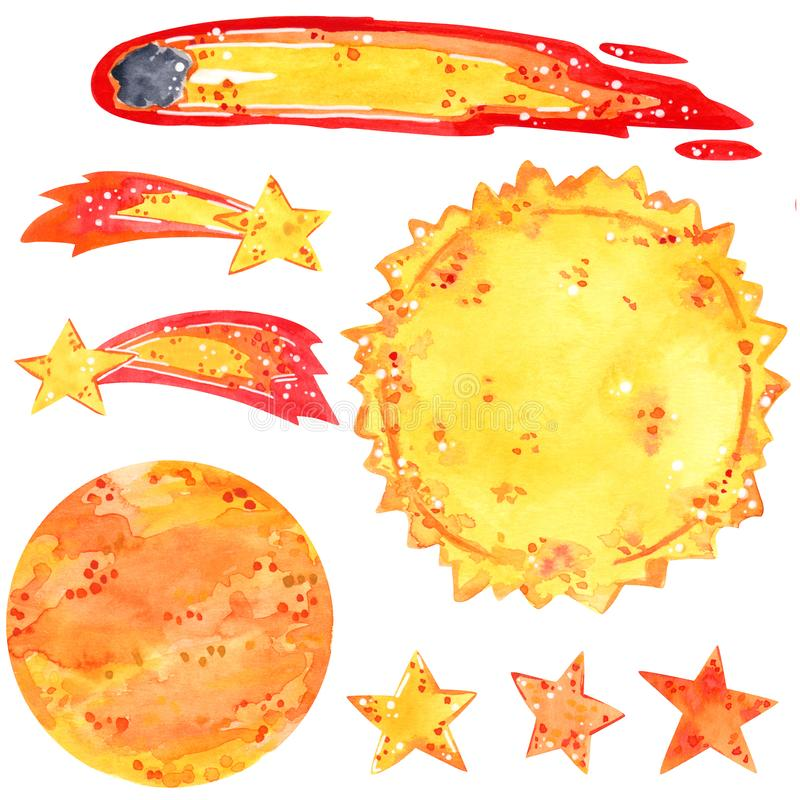 Space clipart set, sun, stars, comets, vector illustration