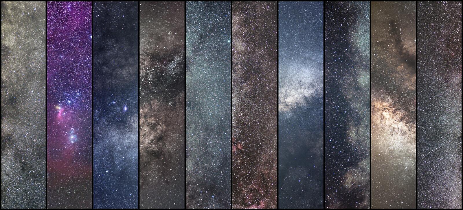 Space collage. Astronomy collage. Astrophotography collage. univ. Erse. Long exposure photography stock photo