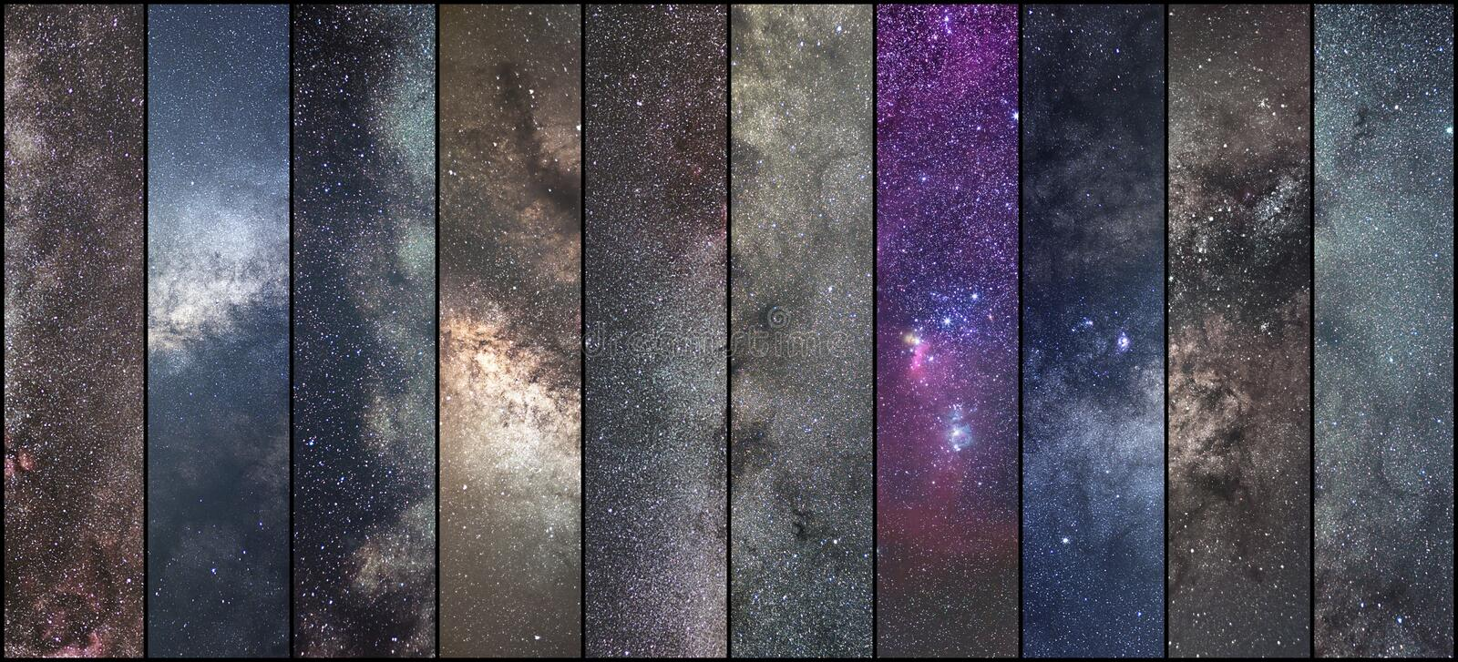 Space collage. Astronomy collage. Astrophotography collage. universe. NLong exposure photography stock image