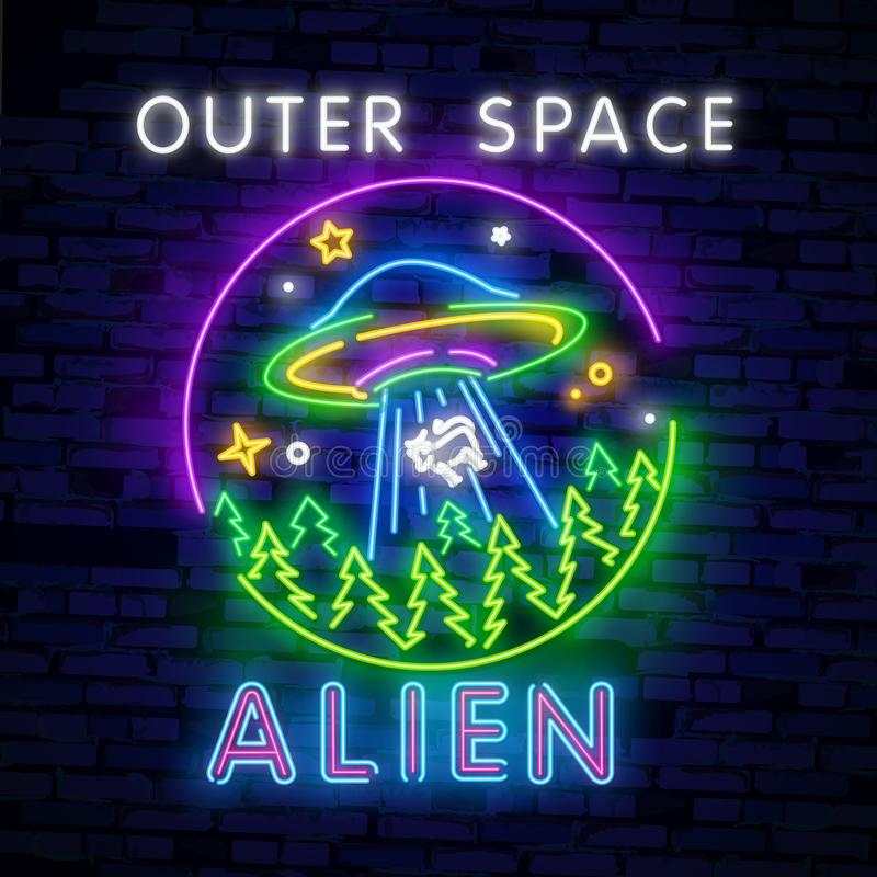 Space Neon sign UFO. Retro neon. Cosmic Theme design template concept. Neon banner background design, night symbol. Space collection neon signs vector. Cosmic vector illustration