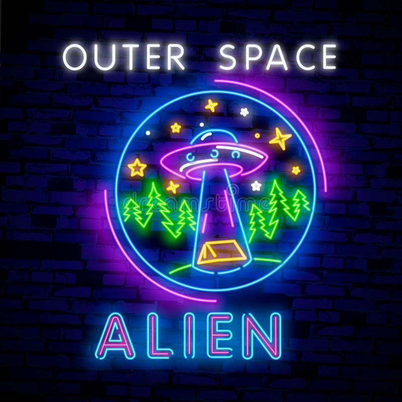 Space Neon sign UFO. Retro neon. Cosmic Theme design template concept. Neon banner background design, night symbol. Space collection neon signs vector. Cosmic royalty free illustration