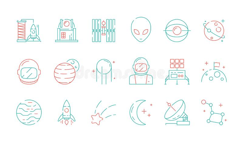 Space colored icon. Astronomy collection universe discovery astronaut alien shuttle rocket lunar radar vector futuristic stock illustration