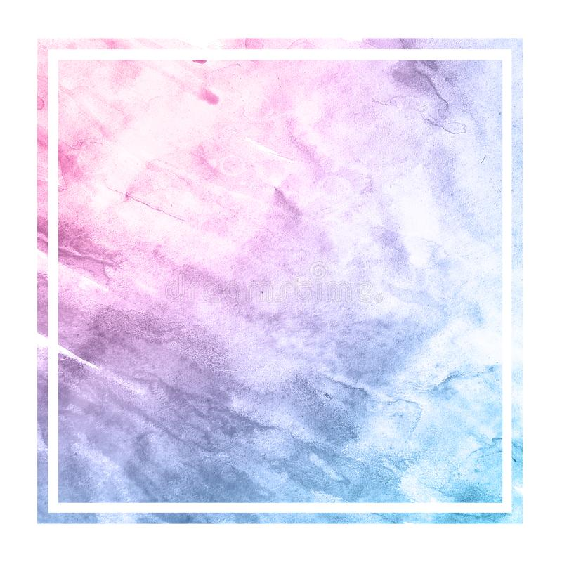 Space colors hand drawn watercolor rectangular frame background texture with stains. Modern design element royalty free stock photography