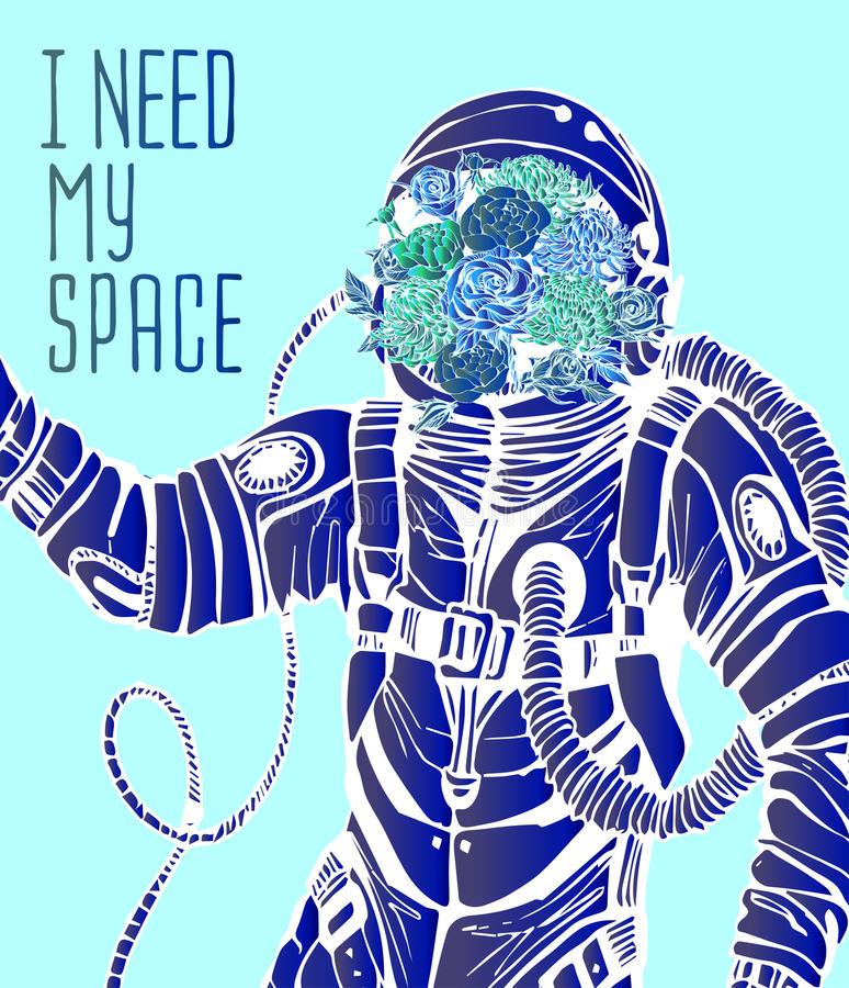 Space concept with astronaut stock illustration