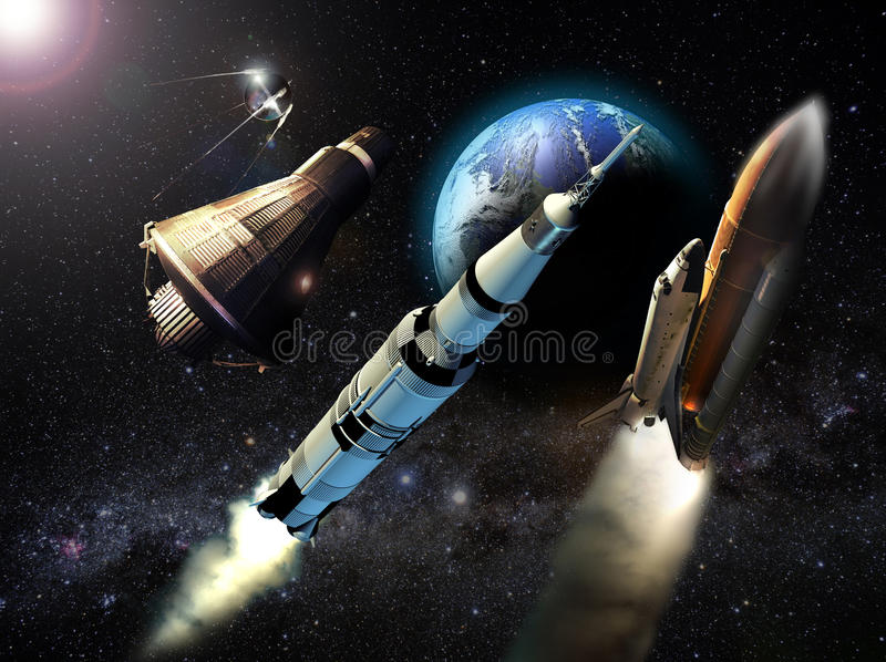 Space conquest. From the sputnik to the space shuttle, several steps of the space conquest vector illustration