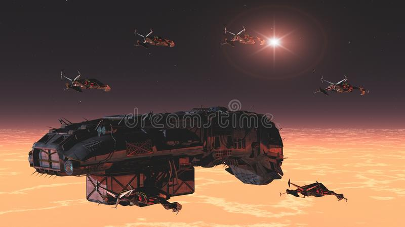 Space convoy. Science fiction space freighter escorted by squadron of fighters stock illustration