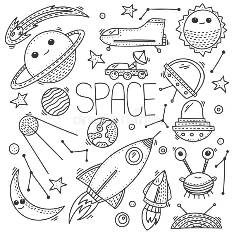Space and cosmos, vector concept in doodle style. Hand drawn illustration for printing on T-shirts, postcards royalty free illustration