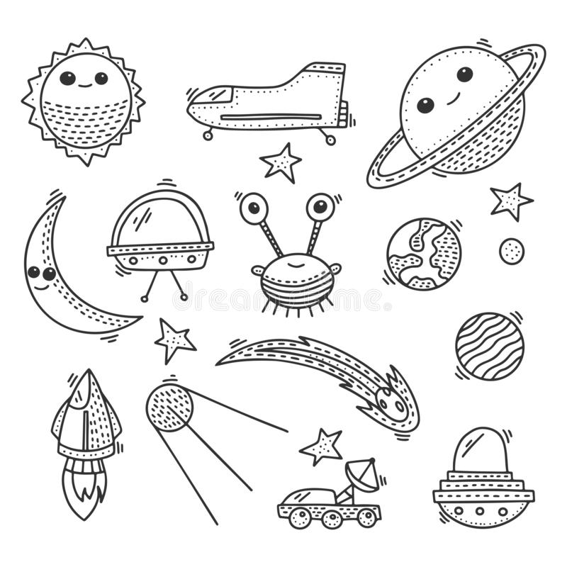 Space and cosmos, vector concept in doodle style. Hand drawn illustration for printing on T-shirts, postcards stock illustration