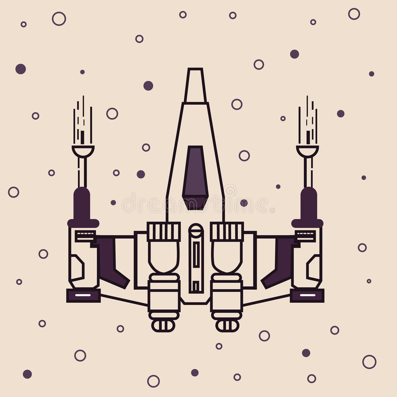Space craft fighter jet futuristic icon drawing illustration. Vector royalty free illustration
