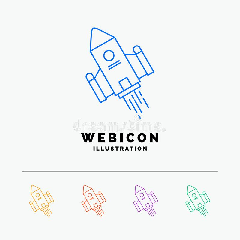 space craft, shuttle, space, rocket, launch 5 Color Line Web Icon Template isolated on white. Vector illustration vector illustration