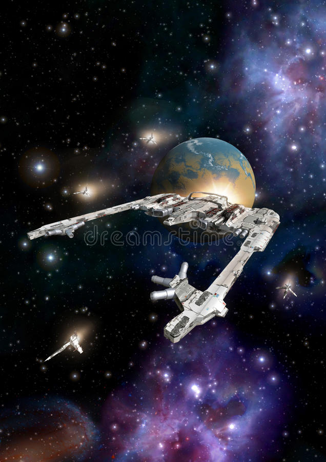 Space cruiser with escort fighter. 3D render science fiction illustration royalty free illustration