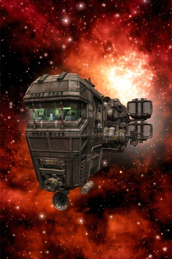 Space cruiser spaceship with bridge royalty free illustration