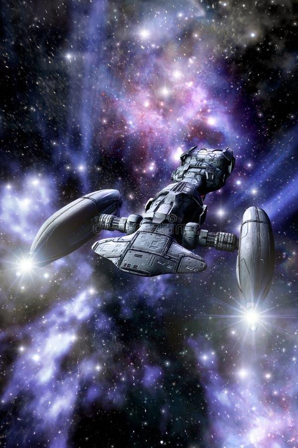 Space cruiser spaceship stock illustration