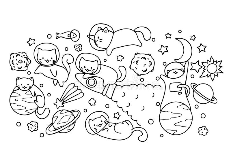 Space Cute Cates Playing With Stars And Planets For Printed Tee Wallpaper And Coloring Book Page For Kids Vector Illustration Stock Vector Illustration Of Cats Line 117609801