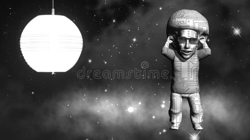 Space dancer. 3D rendering. Art. 4K. royalty free stock photos