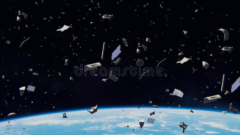 Space debris in Earth orbit, dangerous junk orbiting around the blue planet stock illustration