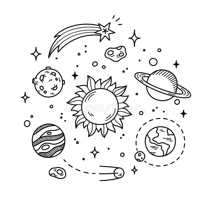 Space Doodle Illustration Stock Vector Illustration Of