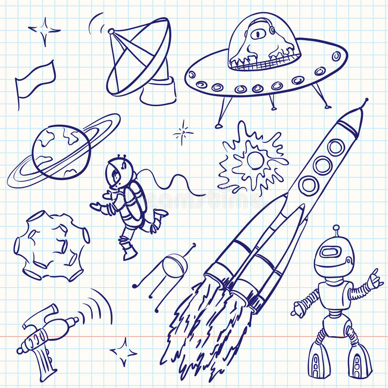 Download Space doodles stock vector. Image of collection, robot - 16455321
