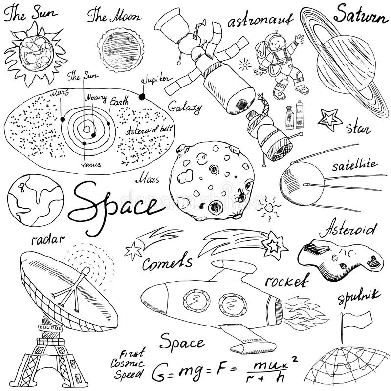 Space doodles icons set. Hand drawn sketch with Solar system, planets meteors and comats, Sun and Moon, radar, astronaut rocket an vector illustration