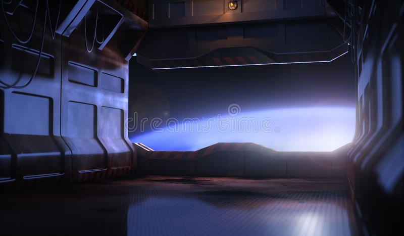 Space door. Space ship with door and earth stock illustration