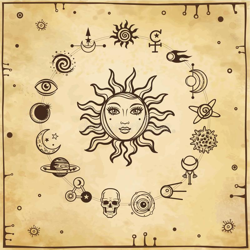 Space drawing: the sun with a human face, set of mystical icons. Background - imitation of old paper. Esoteric, mysticism, occultism. Print, poster, t-shirt stock illustration
