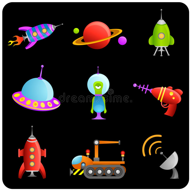 Space elements vector set vector illustration