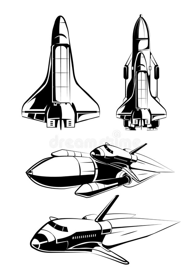 Space elements for vintage astronaut vector labels royalty free illustration