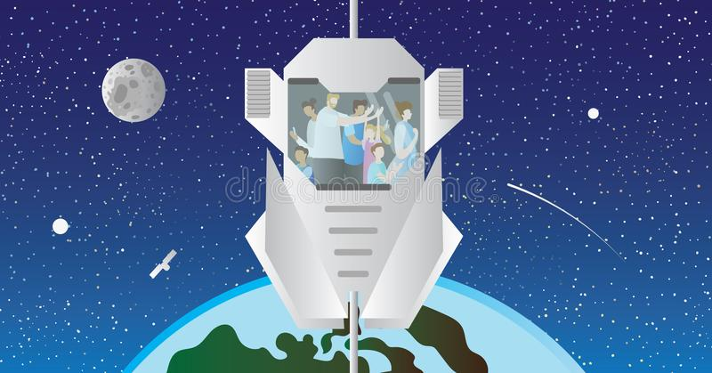 Space elevator vector illustration. Transport and sightseeing using modern space lift model and raise up out of the atmosphere. royalty free illustration