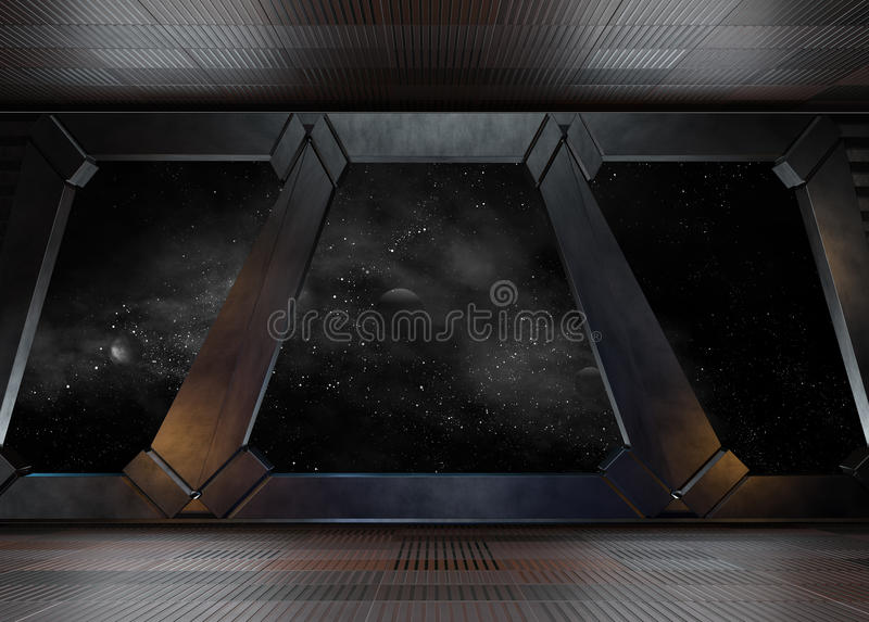 Space environment, ready for comp of your characters. 3D render. Ing royalty free illustration