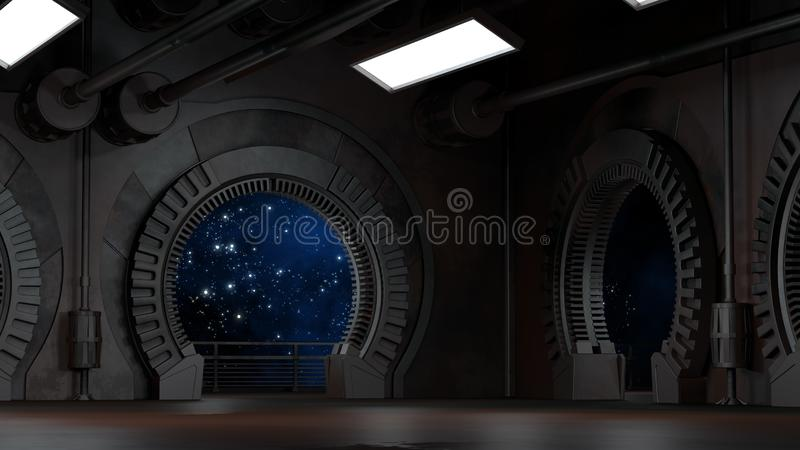 Space environment, ready for comp of your characters.3D rendering. Space environment, ready for comp of your characters.High resolution 3D rendering royalty free illustration