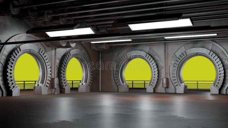Spaceship futuristic interior with window view.3D rendering. Space environment, ready for comp of your characters.High resolution 3D rendering royalty free illustration