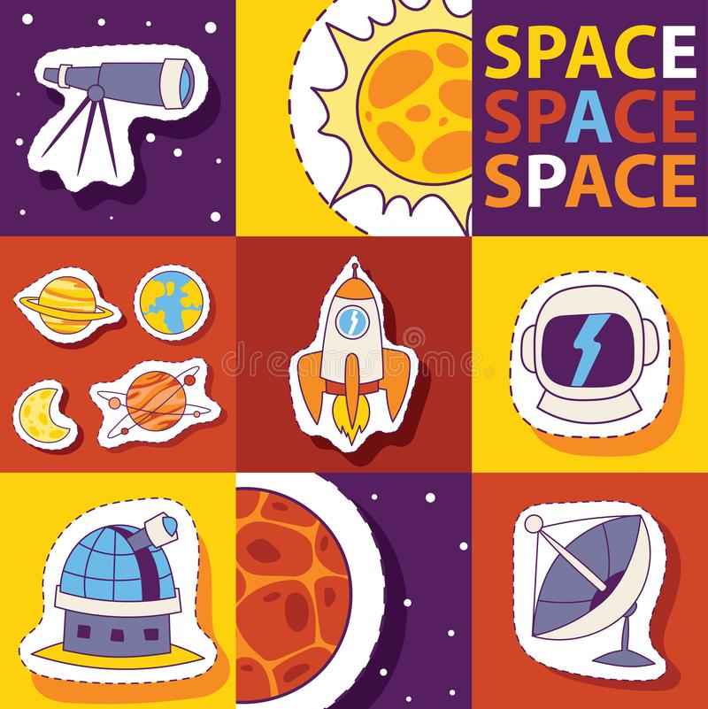Space equipment vector illustration. Badges, patches, stickers set with Space, UFO, rocket, telescope, comet, sun, moon vector illustration