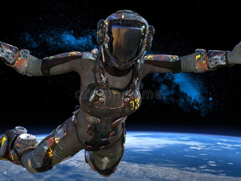 Space Explorer, Astronaut, Outer Space vector illustration