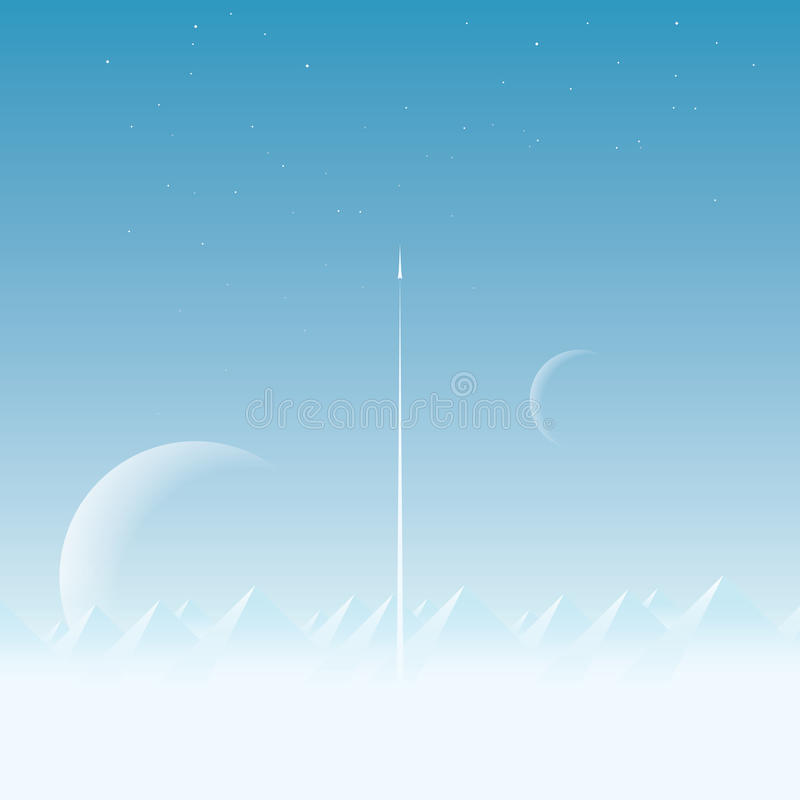 Space exploration concept vector background with large planets in the sky. Space shuttle or rocket launching into royalty free illustration