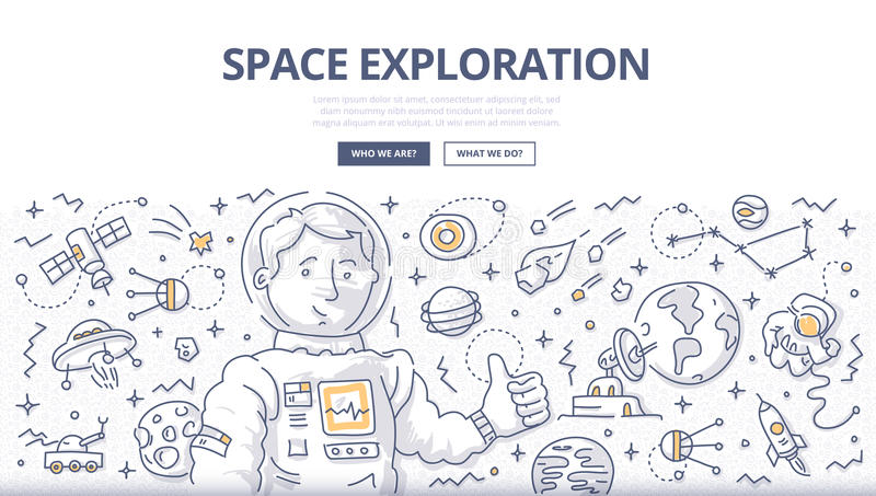 Space Exploration Doodle Concept. Astronaut surrounded with space related symbols and elements. Doodle concept of space mission and exploration for web banners royalty free illustration