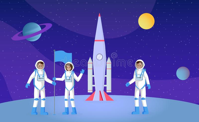 Space exploration, expedition flat vector illustration. Young astronauts with flag, people in pressure suits cartoon. Characters. Cosmonauts on planet surface royalty free illustration
