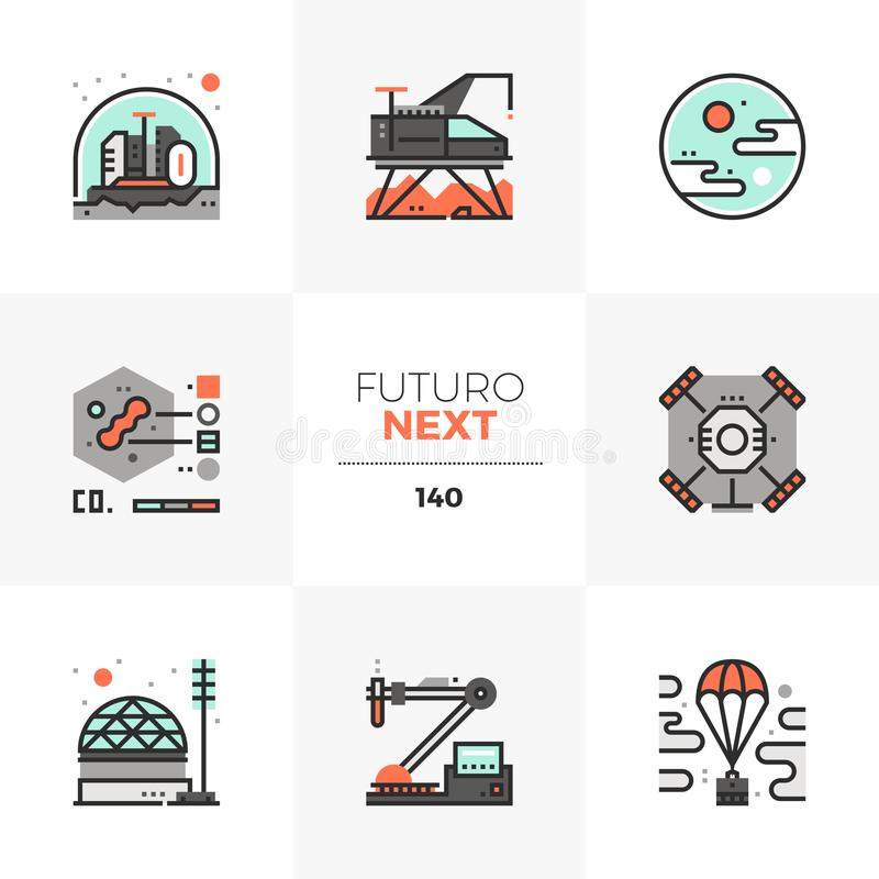 Space Exploration Futuro Next Icons. Modern flat icons set of space exploration, extraterrestrial life research. Unique color flat graphics elements with stroke vector illustration