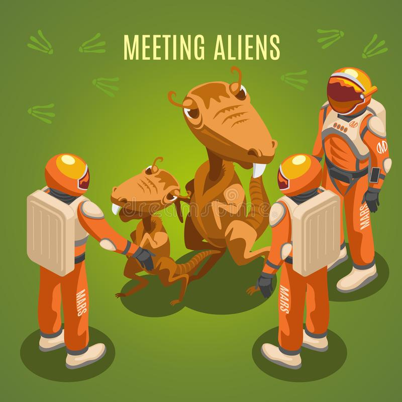 Space Exploration Meeting Aliens Composition. Meeting aliens during space exploration isometric composition on green background with astronauts in environmental royalty free illustration