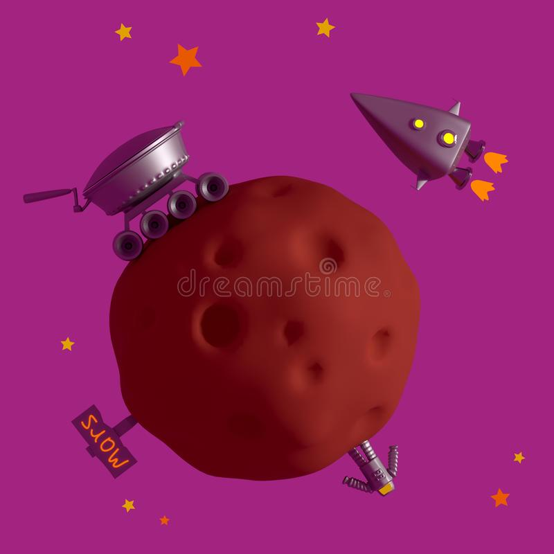 Mastering the red planet Mars, the search for water rover. 3D re vector illustration