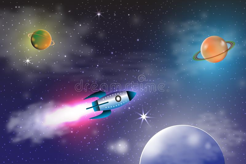 Space exploration with retro rocket planets and stars on dark background with rays and flares vector illustration.  stock illustration
