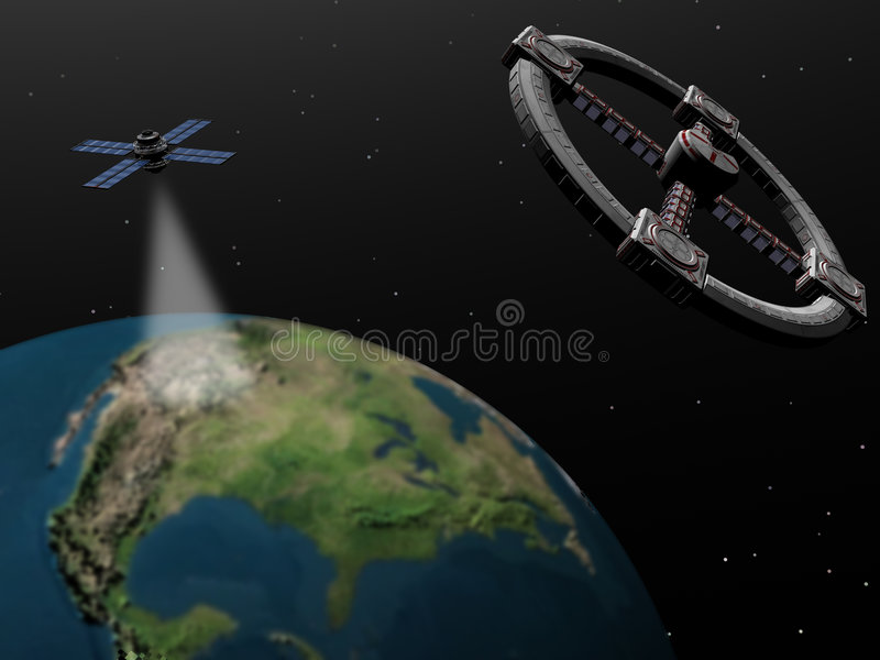 Space exploration, space station and satellite. royalty free illustration