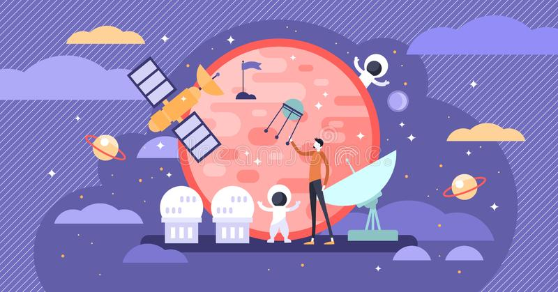 Space exploration vector illustration. Flat tiny astronaut person concept. stock illustration